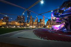 Millennium Park Amphitheatre 2 (FotographybyFrank) Tags: nightshots 10mm city night linesofdirection purple nikon d500 fotographybyfrank amphitheater millenniumpark longexposure illinois chicago