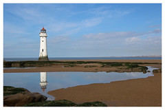 Perch Rock (mandysp8) Tags: lighthouse reflections beach coast bluesky clouds rocks seaweed newbrightonlighthouse liverpoolbay merseyside eos canon
