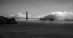 Golden Gate Bridge (San Francisco Gal) Tags: goldengatebridge bridge fog cloud pacificocean water goldengate marinheadlands san francisco bw monochrome bn