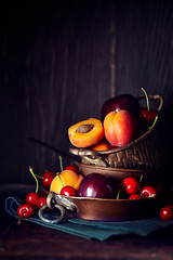 Fruits (Stefania Casali) Tags: fruit food freshness red ripe organic woodmaterial table healthyeating nature dieting summer vegetarianfood cherry backgrounds rustic vitamin leaf basket closeup