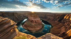 Around the Bend (David Colombo Photography) Tags: arizona horseshoebend canyon grandcanyon rock river water clouds sunburst starburst sun cloudy sunset page iconic steep cliff dangerous