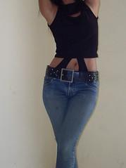 SDC13651 (ikat.bali) Tags: girl fotomodell photomodel leder leather jeans amateur belt gürtel fashion fetish outfit