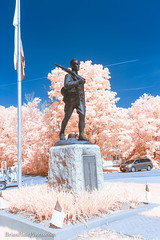 WWI memorial (Brian M Hale) Tags: ir infrared infra red 590nm 590 lifepixel outside outdoors ma mass massachusetts newengland new england usa brian hale brianhalephoto sky wwi world war one monument memorial tribute statue soldier hopkinton