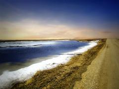 Spring thaw 1 (mrbillt6) Tags: landscape rural prairie road pond ice snow sky outdoors country countryside northdakota