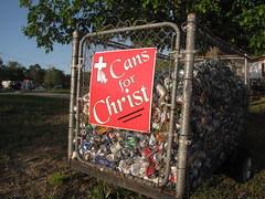 Cans for Christ (Gerry Dincher) Tags: faithcommunitybaptistchurch camdenroad fayetteville northcarolina cumberlandcounty recycling cans recycle green buschbeer pepsi chainlink bin trailer environmentalism roadsidechristianity aluminumcans lite michelobultra beercans sodacans sunkist mug dietmountaindew sprite pepsizerosugar