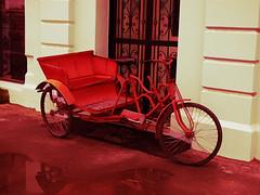 The Red Trike Transporter (Steve Taylor (Photography)) Tags: chinese trike art digital door cream red puddle newzealand nz southisland canterbury christchurch cbd city bike rickshaw