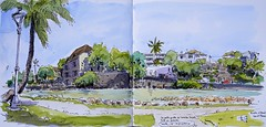 Rivière d'Abord, Saint-Pierre, Réunion Island (Phil de couleur) Tags: aquaréelle croquis saintpierre watercolor reunion reunionisland tropical ink sketch ville city