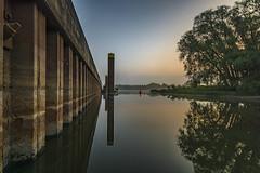 DSC02769 (karstenlützen) Tags: germany brandenburg frankfurtoder ziegenwerder sunrise landsape mirrored pier jetty fog riverside waterfront sigma1020f35 ilca77m2