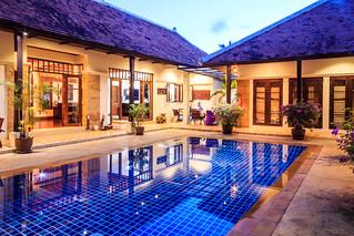 Luxury, tropical villa, Phuket Thailand at twilight