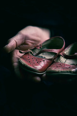 nostalgia (borealnz) Tags: shoes red old hands holding nostagia childhood vintage