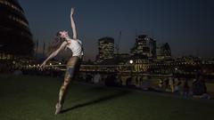 Ballet Dancer at the Tower of London (JonMad) Tags: ballet dancer dance enpointe london tower toweroflondon towerbridge sunset leggings cityhall walkietalkie gherkin riverside embankment