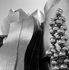 Let them shine (Gabo Barreto) Tags: bilbao paisvasco basquecountry spain españa museum guggenheim art sculpture shine metal metallic reflection building architecture design film 120 trix xtol analoguephotography filmisnotdead ishootfilm selfdeveloped scannedfromfilm blackandwhite monochrome balls