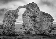 St Andrews Ruin (f_gray1) Tags: st andrews church ruin lincolnshire england uk monochrome photo photograph photography architecture building destroyed classic heritage history ruins sky ancient landscape grass