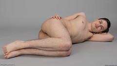 Nude guy lying on side (StudioLads.com) Tags: male model man guy dude youth stud hunk pose studio photoshoot floor shirtless topless nude naked undressed unclothed hot horny sexy cute fit body physique chest nipple hairy armpit bum arse ass foot feet barefoot lie lying lay laying down