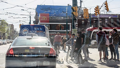 Queen Street Shuffle (caribb) Tags: ottawa ontario canada urban city 2018 toronto tdot downtown buildings citylife urbanlife streetlife tramcables streetcarcables people cyclists taxi urbancongestion queenstreet spadina avenue spadinaavenue intersection pedestrians busy
