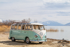 Honu Bus (Eric Arnold Photography) Tags: vw volkswagen bus van transporter deluxe bulli ragtop 21 window split splitty safari teal blue beach shore lake water sky clouds american fork utah ut magazine feature canon 80d photoshoot shoot