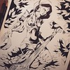 Open Chord (MrHass) Tags: artboard mrhass invented pose femaleform penandink handdrawn drawing artwork illustration afrofuturism sitar music foliage leaves drapery jewelery bird