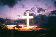 cross in the sky (Louis Dazy) Tags: 35mm analog film double exposure sunset sunrise neon cross god sky clouds