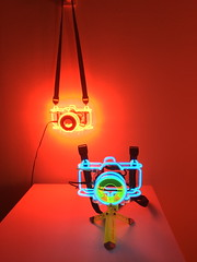 Cameras (markshephard800) Tags: cameras neon art bright colourful colorful colors colours couleurs tripod
