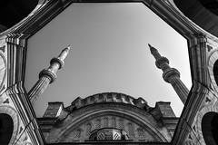 "Octagon / ""Bullet the blue sky"" - 59 (Özgür Gürgey) Tags: 2016 20mm bw beyazıt d750 nikon nuruosmaniye voigtländer architecture mosque octagon sky symmetry istanbul"