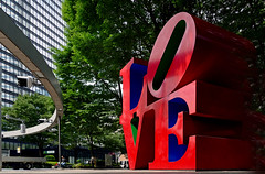LOVE sculpture in Shinjuku. (Bernard Spragg) Tags: lovesculptureinshinjuku tokyo art red publicart street ravel soe lumixfz1000