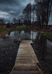 Lake Dock (free3yourmind) Tags: lake dock pier little small water trees clouds cloudy braslav braslaw belarus nature dramatic sky