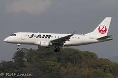 JA225J Embraer 170 J-air Fukuoka airport RJFF 09.04-18 (rjonsen) Tags: plane airplane aircraft aviation flying flight approach arrival regional jet
