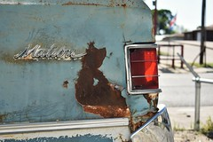 Tulsa, Oklahoma. 4.29.18. (Nothing Signified) Tags: nikond3400 malibu chevymalibu tulsa tulsaoklahoma nikon d3400 dseries nikondseries blue rust rusty patina sheridan oklahoma ok light brakelight musclecar america americana americanamerican elegydan watson photographynothing signifiedl dslr streetphotography newtopographics democraticforest texture abandoned abandonedcar chevroletmalibu classiccar rustycar taillights red williameggleston