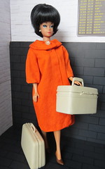 Waiting to board (Foxy Belle) Tags: vintage barbie doll fashion queen handmade coat airport travel diorama 16 scale beehive wig black blossom white bags