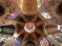 Great octagonal crossing, 14thC - Ely Cathedral, Ely, Cambridgeshire, England.. (edk7) Tags: olympusomdem5 olympus9mm18140°fisheyezonefocusbodycaplens edk7 2018 uk england cambridgeshire ely elycathedral cathedralchurchoftheholyandundividedtrinity 14thcoctagonalglazedtimberlantern octagonalcentralcrossing architecture building oldstructure church sculpture carving stonecarving stonework gradeilisted medieval tower window stainedglass arch nave transept ceiling painting