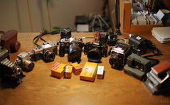 Cameras Prepared, Model comes next week ;-) (RickB500) Tags: cameras analog film hasselblad pentax zeiss polaroid
