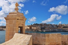Fort St Angelo (Douguerreotype) Tags: stone landscape malta water buildings cityscape castle architecture city valletta tower fort historic