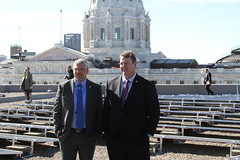Senators Frentz and Simonson at the Rooftop Solar Panels