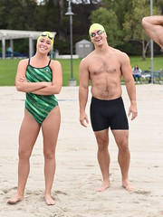 Siblings? (Chris Hunkeler) Tags: beefy male athlete swimmer trunks onepiece swimsuit orangecounty openwater swim clinic