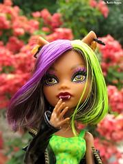 Clawdeen Wolf ♥ (♥ MarildaHungria ♥) Tags: clawdeenwolf newscaremester monsterhigh mh mattel doll outdoor flowers toy