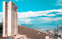 Kaláh y Cerro de la Silla (gyogzz) Tags: mavic pro dji orange teal panoramic panorama skylines skyline tower mountain landscape photographie drone