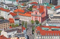 Prešernov square (morbidtibor) Tags: slovenia ljubljana church square preseren castle