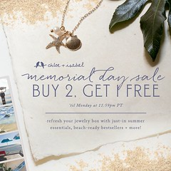 Our Memorial Day Sale starts today! Buy 2 Get 1 Free online now through midnight Monday. Shop: www.chloeandisabel.com/boutique/thecelticpearl   #MemorialDay #Sale #Buy2Get1 #Free #B2G1 #Save #jewelry #fashion #accessories #style #shopping #shop #trendy #t (thecelticpearl) Tags: free accessories trendy shop guarantee chloeandisabel style thecelticpearl fashion trend buy save sale jewelry trending trends boutique shopping buy2get1 memorialday online b2g1 lifetime