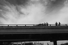 Overpass {139/365} (therealjoeo) Tags: 365 365project texas wreck austin sky overpass highway clouds blackandwhite