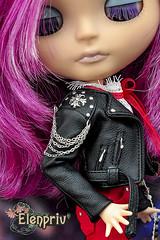 Blythe doll in leather biker jacket by ELENPRIV (elenpriv) Tags: blythe doll leather biker jacket elenpriv black elena peredreeva handmade clothes fashion