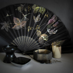 in praise  of shadows (Wendy:) Tags: tenebrism fan oriental dark shadows bowls containers fabric lacquer wood