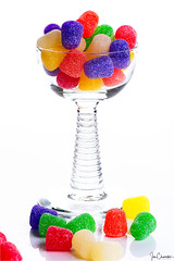 Cup of Cheer (iecharleton) Tags: candy gumdrop sweet food confection sugar colors bright vibrant treat glass highkey smileonsaturday colourfulcandy