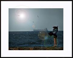 photographer2flare (agphoto100) Tags: photographer flare frame dark boat ship water sea wet sun girl woman dress camera fuji f770exr rock wall brisbane moretonbay
