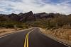 pulls to the right (Michael Kenan) Tags: desert nature mkenanphotography highway blacktop road sonorandesert apachetrail az yellowstripe saltriver cactus superstitionmountains sk phoenix wilderness arizona