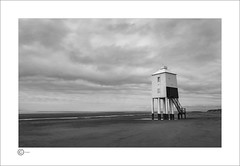 Light House at Burnham (Clicker_J) Tags: blackwhite beach clouds coast highlight lowlight light landscape lighthouse naturallight nikon seascape seaview seaside sands shadows textures tide water whitebuilding white wet wa