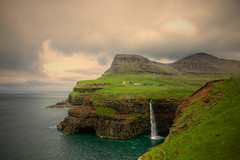 Gásadalur and Mulafossur Waterfall, Faroe Islands (Katya_N) Tags: atlantic day faroeislands gasadalur horizontal mountains mulafossur nature nopeople ocean outdoors photography village waterfall