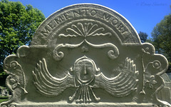 gravestone in the First Church cemetery, Bennington, VT (doug sinclair) Tags: gravestone bennington folk carving marble soul effigy floral face wings stone historical relief