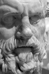 The Head Of Silenos (peterkelly) Tags: bw digital canon 6d toronto ontario canada northamerica royalontariomuseum headofsilenos face beard sculpture carving statue bust rom