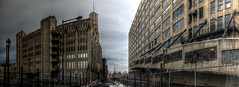 Panorama 3568_hdr_pregamma_1_mantiuk06_contrast_mapping_0.1_saturation_factor_0.8_detail_factor_1 (bruhinb) Tags: panorama hdr philadelphia pa usa eraserhood noblestreet lasherprintingcompany artdeco pouredconcrete callowhill viaduct therailpark building sky architecture tower road people terminalcommercebuilding