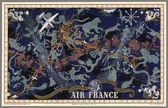 Carte d'itinéraire Air France inspirée du zodiaque de 1939. (Maison de l'Alchimiste) Tags: zodiaque